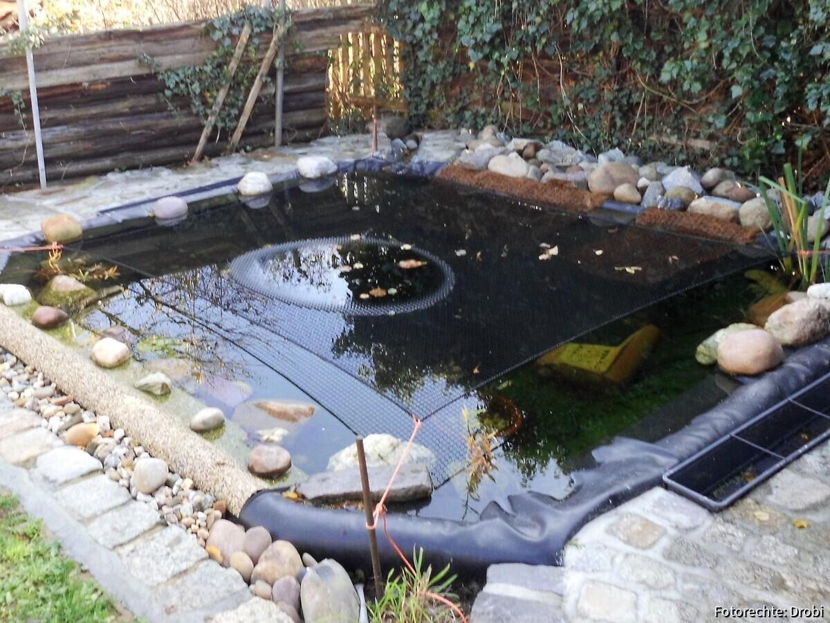 Mein neuer Teich, vorn Steinfolie wo die Bienen Wasser holen