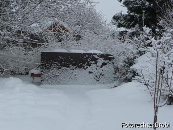 Blende gegen die Sonne, 30 cm Schnee 21.2.09